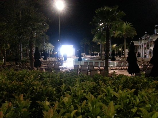 Gaylord Palms Resort & Convention Center: Pool at Night(Video Projector Screen in background)