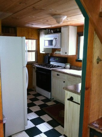 Mountain Air Cabins : kitchen with full fridge, oven and stove