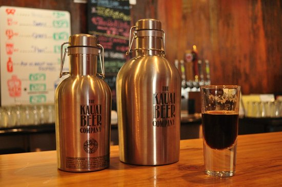Kauai Beer Company: Two Growlers and a very dark beer