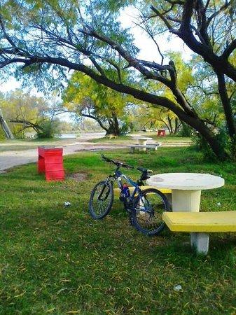 Costanera del rio Ctalamochita: Asadores, mesas, bancos, sauces, rio y playones de arena