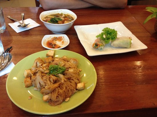The Vegetarian: Tom yum soup, spring rolls, noodles with tofu