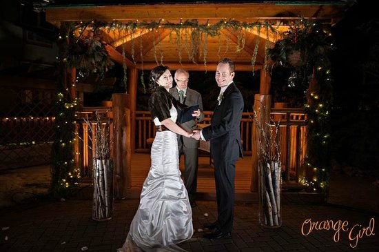 A Bear And Bison Canadian Country Inn Candlelight Wedding Ceremony Canmore Alberta