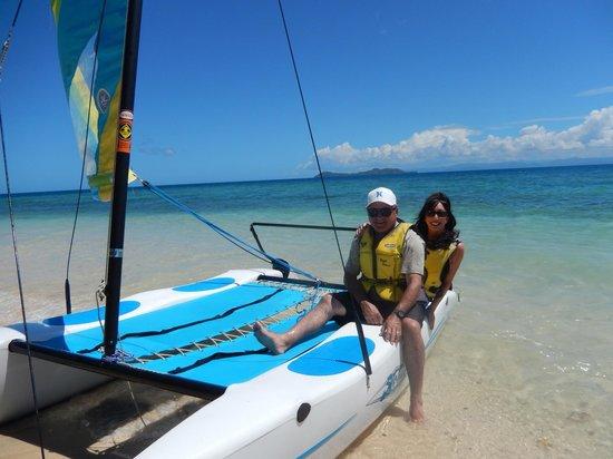 Royal Davui Island Resort: Sailing on a hobie cat