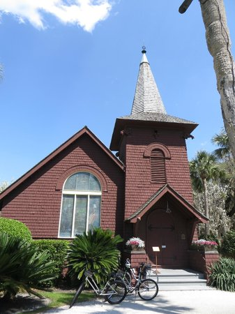 Jekyll Island Historic District: The front window is stain glass, and was put in by Tiffany...Just Beautiful . No Pictures