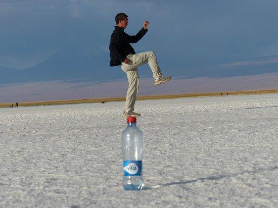 San Pedro de Atacama, Cile: Trick photo at Laguna Tebenquiche