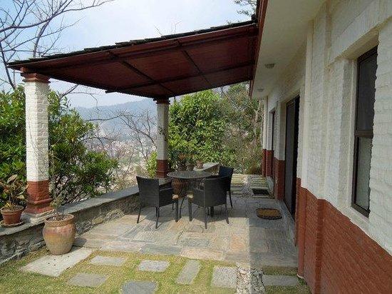 Chandra Ban Retreat: Eating/viewing patio off sleeping quarters