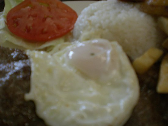 Bistek a la Limena or Beef Steak with rice and egg