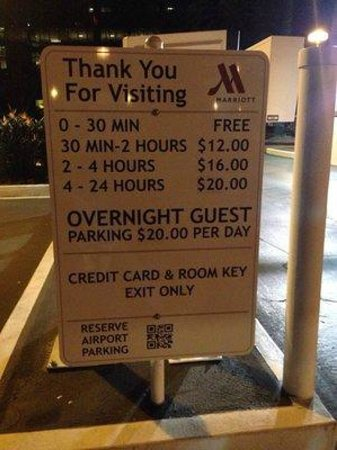 Irvine Marriott: Ridiculous parking fees! Self parking overnight is $20.00! That's highway robbery!