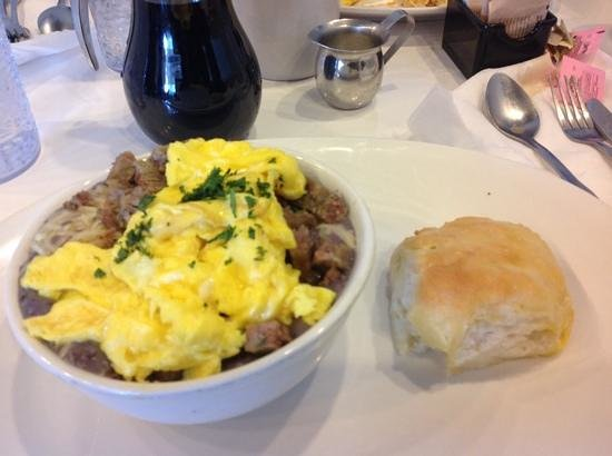 Over Easy : blue gritts, eggs, sausage scramble