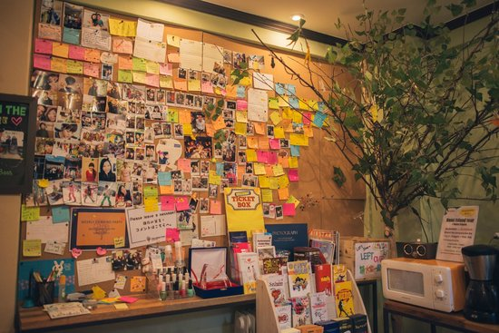 Chocolate Tree: Wall of notes in the seating/pantry area