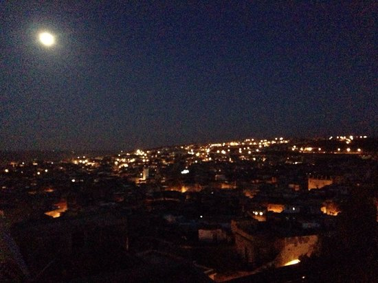 Dar Roumana: View from terrace - moonlit night