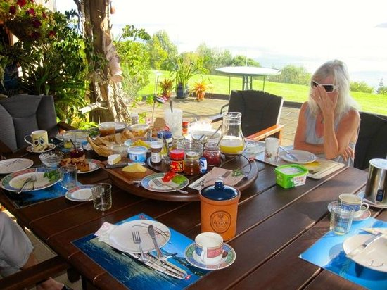 Carneval Ocean View : Martha, shown here, and Roly always sit down with their guests at breakfast. Roly will cook to o
