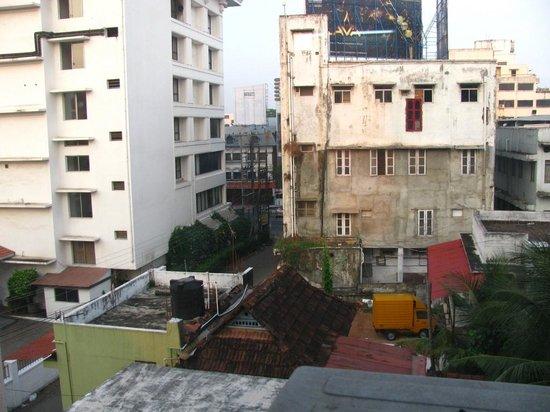 Hotel S.M. Regency: View from room, nettipadam rd.(lane) meets MG rd.