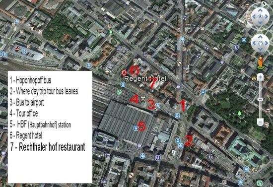Hotel Regent: Map of features around hotel