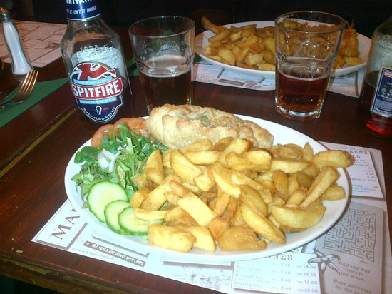Marino's Fish Restaurant and Takeaway: Chips and beer!
