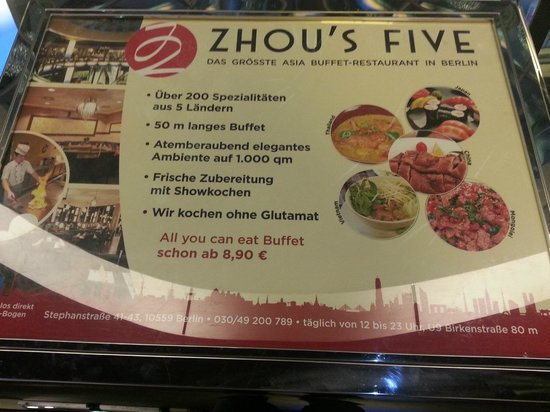 Zhou's Five: Buffet menu advert as you enter is misleading