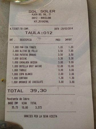 Restaurante Sol Soler: Flesje Cava €12