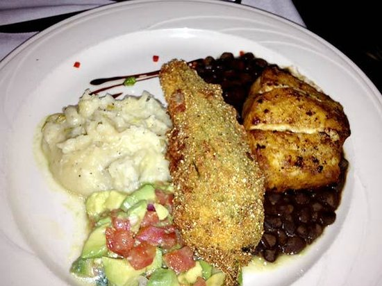 195 American Fusion Cuisine: My wife enjoyed the mahi but not the big chili relleno (center) because I it stole from her plat