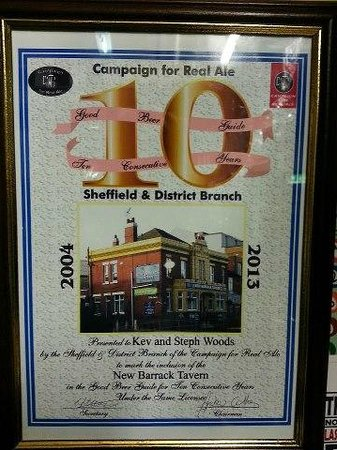 New Barrack Tavern: certificate for 10 years in the Good Beer Guide