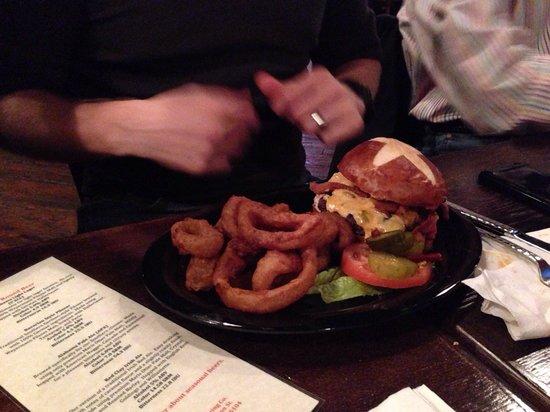Railyard Brewing Company: Bacon cheeseburger on a pretzel bun with onion rings
