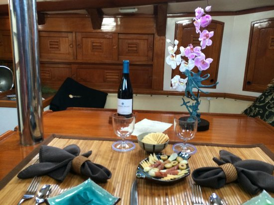 Black Watch Sailing Charters: Our dinner in the cabin.