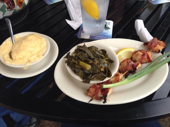 Wintzell's Oyster House: Bacon jalapeño wrapped shrimp, collard greens and grits
