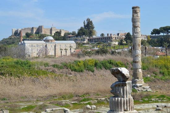 The Temple of Artemis (Artemision): castle, Isa Bey Mosque, and Basilica of St. John in the background