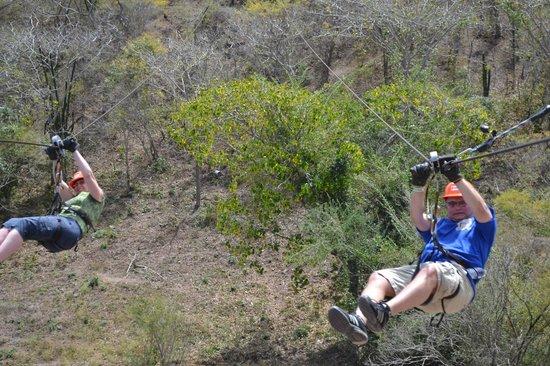 Veraneando Adventure Zipline Tour and River Ride Tour: Zip line #12 race to the finish