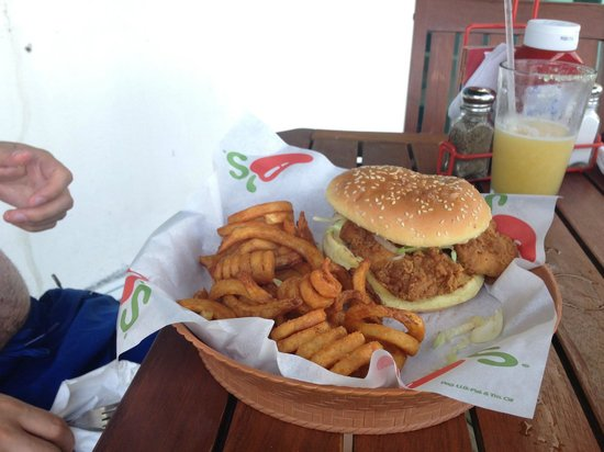 Chili's: Chicken Burger with curly fries instead of regular fries