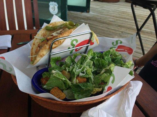 Chili's: Pita and caesar salad