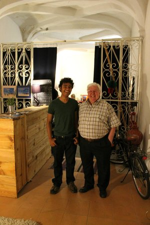 Johnies Place: With the manager's father, who is one of the most interesting people I met in Europe