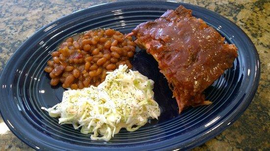 Heli-Hogs : Dinner - Ribs, Beans, Coleslaw