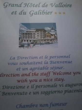 Grand Hotel de Valloire et du Galibier: cahier infos chambre