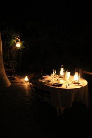andBeyond Phinda Rock Lodge: Surprise candle-lit dinner setup on our deck for our anniversary