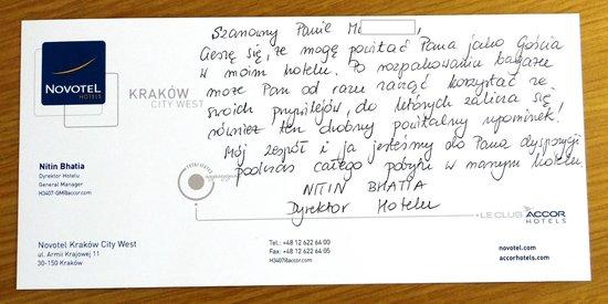 Novotel Krakow City West - room #1024 - my welcome card