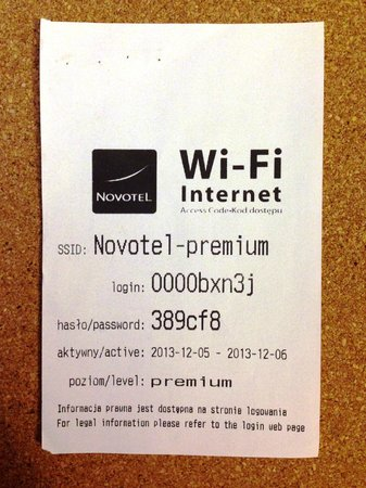 Novotel Krakow City West - room #1024 - annoying Wi-Fi code