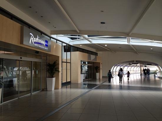 Radisson Blu Hotel Manchester Airport Entrance Showing Skylink To Terminal 2