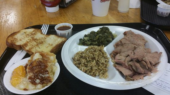 Danken Trail B-B-Q: Pork and beef brisket plate with greens and red beans and rice. Peach cobbler too!