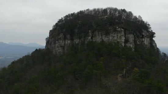 Pilot Mountain from parking lot overlook.