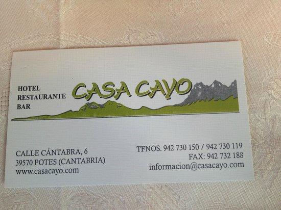 Restaurante Casa Cayo: Tarjeta de Casa Cayo