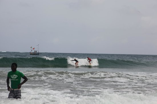 Mr Brights Surf School : My Friend getting a lesson with Mr Bright