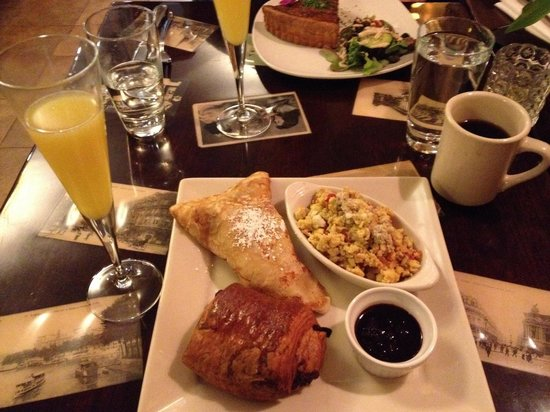 Paris 66: Crepe, pain au chocolat, eggs Provençal, mimosa
