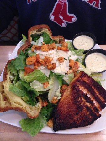 Popovers at Brickyard Square: Caesar salad w salmon