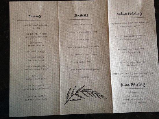 Willows Inn Restaurant: menu