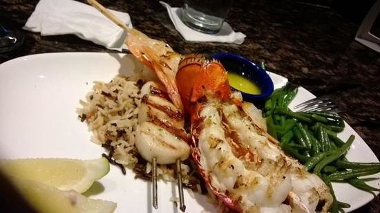 Red Lobster: hubby's shrimp, scallops, lobster, over rice!!!!