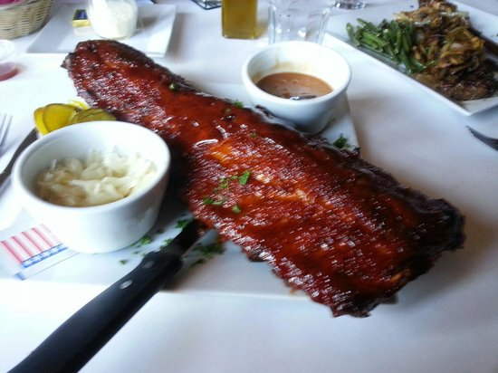 Gugg's : Hugh Slab Baby Back Ribs! Extra thick with a spicy Bbq sauce! Share!