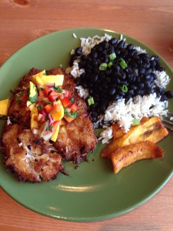 Tipico Cafe: Crusted Tilapia with Mango salsa.