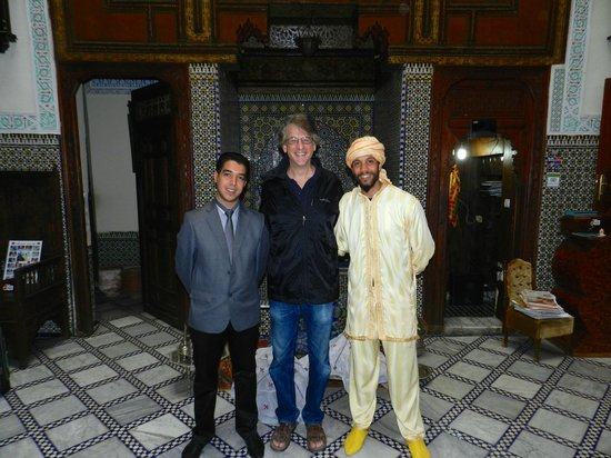 Riad Ibn Khaldoun: Hotel hosts and me in the middle