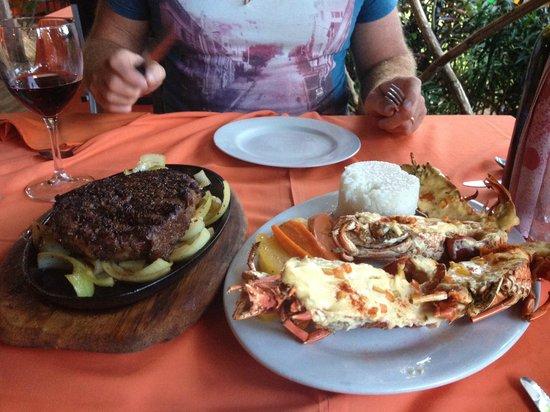 Kokobanana Bar & Grill: Steak (NZ rib eye) and Lobster meal