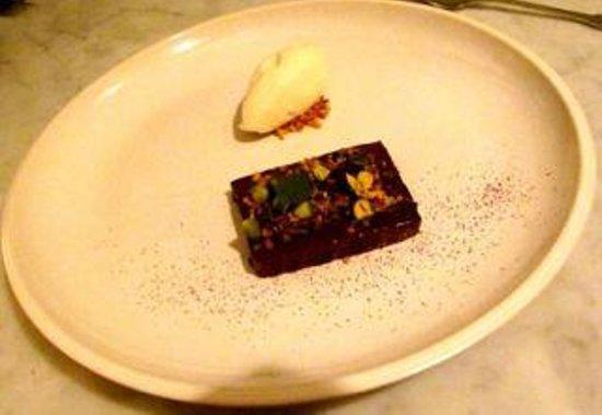 Nineteen23 : dark chocolate pave, pistachios, juniper & milk ice cream ... yum!